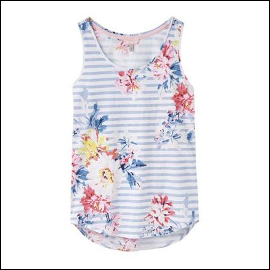 Joules Bo White Stripe Whitstable Floral Print Vest 1
