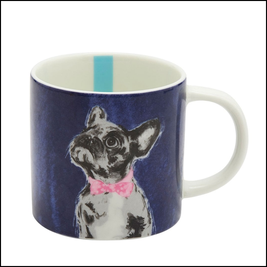 Joules Bowtie French Bulldog Porcelain Cuppa Mug 1