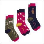Joules Brilliant Bamboo 3pk Dog Print Ankle Socks