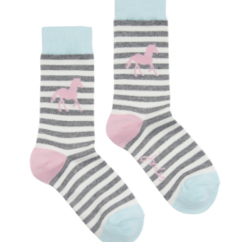 Joules Brilliant Bamboo Grey Stripe Horse Socks