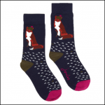 Joules Brilliant Bamboo Navy Fox Socks 1