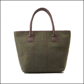 Joules Carey Green Check Tweed Grab Bag 1