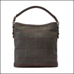 Joules Chesham Green Check Tweed Slouch Bag 1