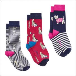 Joules Christmas Cracking Women's Dog Socks 3pk Gift Set 1