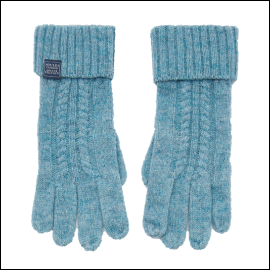 Joules Clark Knitted Soft Teal Gloves 1