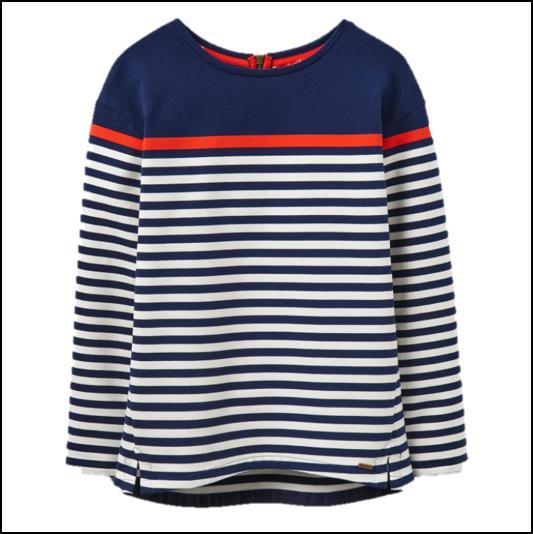 Joules Clemence French Navy Stripe Printed Crew Sweatshirt 1