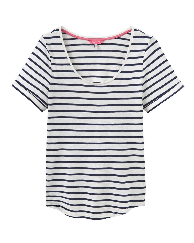 Joules Daily Cream & Navy Stripe T Shirt 1