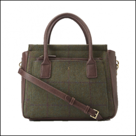 Joules Day to Day Green Check Tweed Shoulder Bag 1