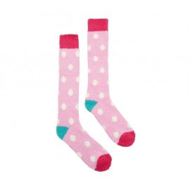 Fab Fluffy Socks Pink with Cream Spots