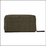 Joules Fairford Green Check Tweed Purse 1