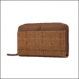 Joules Fairford Tan Check Tweed Purse 1