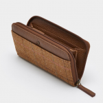 Joules Fairford Tan Check Tweed Purse 2