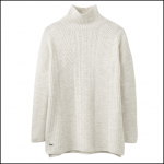 Joules Fallon Cream Marl Cable Knit Jumper 1