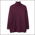 Joules Fallon Plum Cable Knit Jumper 1