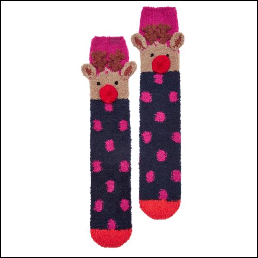Joules Festive Fluffy Ruby Socks 1