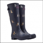 Joules French Navy Dogs in Leaves Tall Wellington Boots