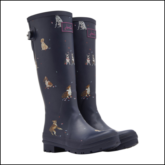Joules French Navy Dogs in Leaves Tall Wellington Boots 1