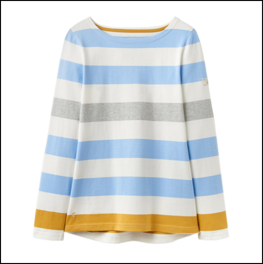 Joules Harbour Blue Gold Bold Stripe Long Sleeve Jersey Top 1