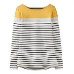 Joules Harbour Cream-Ochre Block Stripe Long Sleeve Jersey Top 1