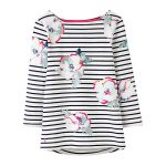 Joules Harbour Cream Poppy Stripe Jersey Top 1