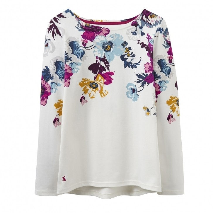Joules Harbour Cream Posy Floral Jersey Top 1
