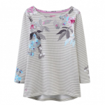 Joules Harbour Grey Marl Beau Floral Stripe Jersey Top 1