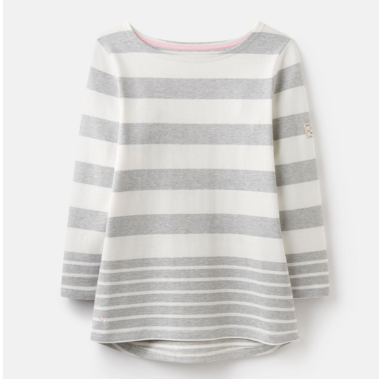 Joules Harbour Grey Marl Wide Stripe Jersey Top