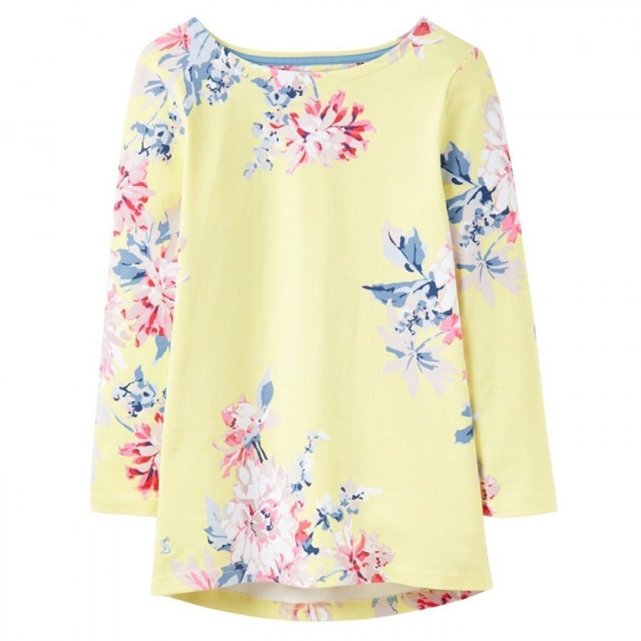 Joules Harbour Lemon Whitstable Floral Print Jersey Top 1