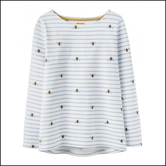 Joules Harbour Print Cream Stripe Bee Long Sleeve Jersey Top 1