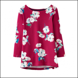 Joules Harbour Ruby Poppy Print Jersey Top 1