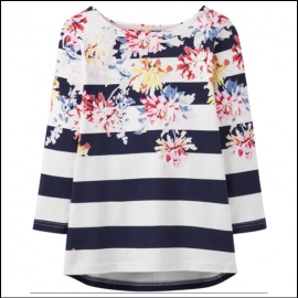 Joules Harbour Stripe Whitstable Floral Jersey Top 1