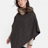 Joules Hazelwood Green Check Tweed Poncho 3