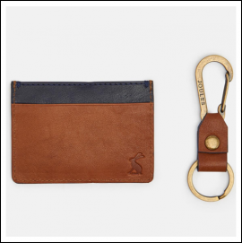 Joules Hobson Tan Leather Card Holder & Keyring Set 1