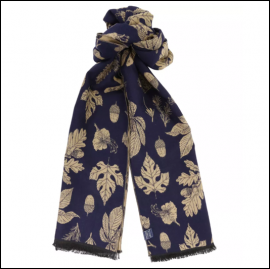 Joules Jacquelyn Navy Etched Botanicals Scarf 1