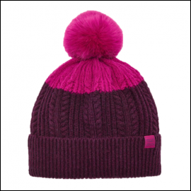 Joules Knitted Ruby Bobble Hat 1
