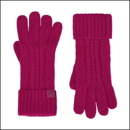 Joules Clark Knitted Ruby Pink Gloves 1