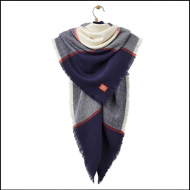 Joules Large Heyford French Navy Check Scarf 1