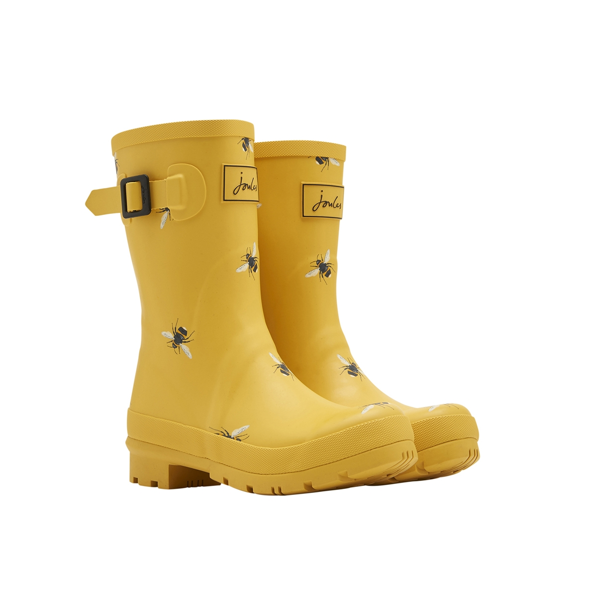 Joules Molly Gold Botanical Bees Mid Height Welly 1