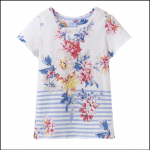 Joules Nessa White Stripe Whitstable Floral Print Jersey T-Shirt