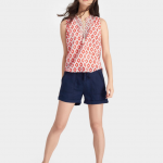 Joules Otille Soft Coral Ikat Sleeveless Top 2