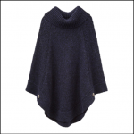 Joules Perdy French Navy Roll Neck Knitted Poncho