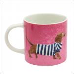 Joules Pink Breton Daschund Porcelain Cuppa Mug 1