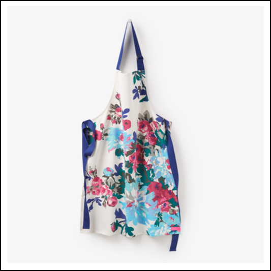 Joules Pinny Cream Floral Cotton Apron 1