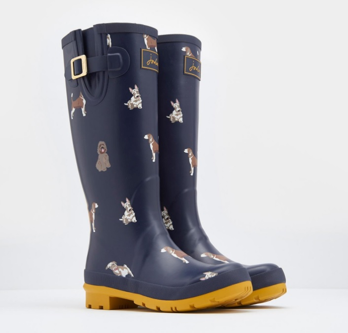 Joules Printed Fido Dog French Navy Wellies