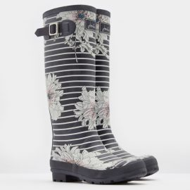 Joules Printed Grey Peony Stripe Wellies