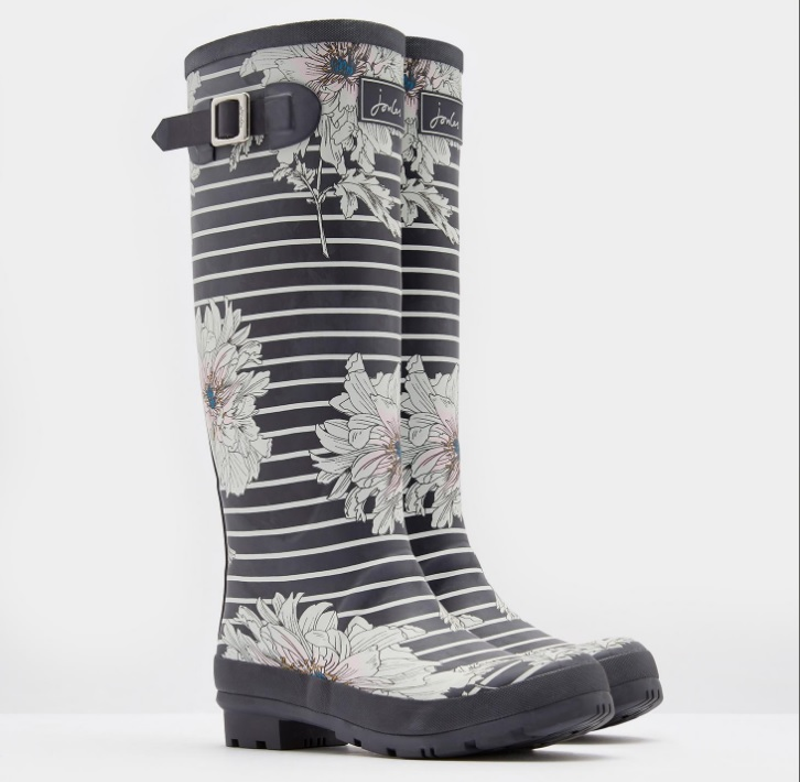 Joules Printed Grey Peony Stripe Wellies