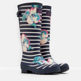 Joules Printed Navy Poppy Stripe Wellies