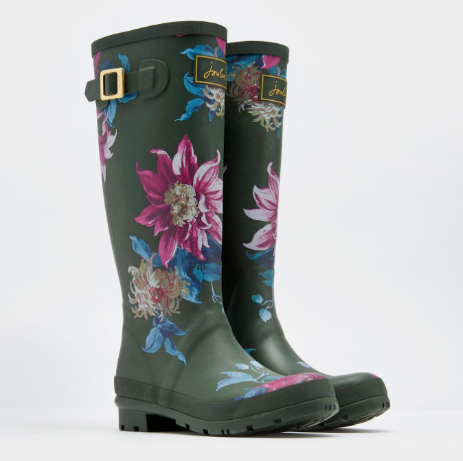 Joules Printed Olive Clematis Wellies