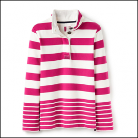 Joules Saunton Classic Ruby Stripe Funnel Neck Sweatshirt 1