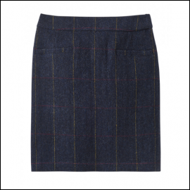 Joules Sheridan Navy Check Tweed Field Skirt 1